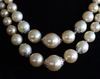 Graduated Double Strand Ivory Pearl Necklace
