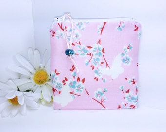 Butterflies Coin Purse Small Zipper Pouch Pink and Teal Floral Change Purse Cute Zipper Pouch