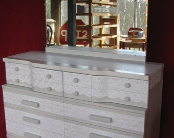Vintage Fashion Trends Lace Painted Dresser/Mirror and Matching Chest