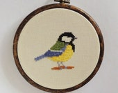 Cross stitch bird. Great Tit. Great Titmouse. small cross stitch. cross stitch bird. cross stitch PDF pattern instant download