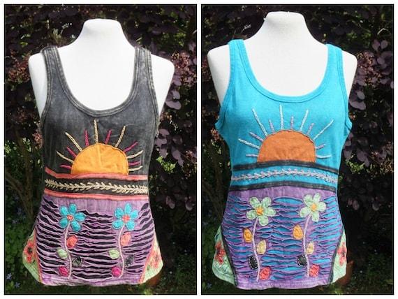 Ladies Sun and Flower Vest Top, Hippy Boho Slash Top, Stonewash Effect Hippie