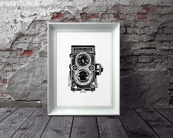 Vintage Camera Art Print, Instant Download, Digital Art Print, Wall Decor, Modern Wall Art Illustration