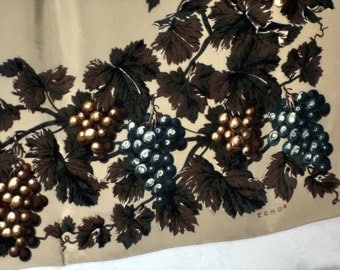 SALE! 80s Echo Silk Scarf Vine Leaves & Grapes Floral Fruit  Soft Teal Green Mocha Large Pristine HAIR head wrap sash Decor Art Costume gift