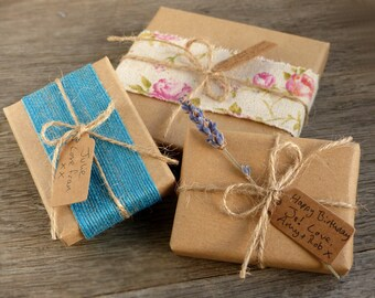 Add gift wrap and a note: rustic/natural/shabby chic