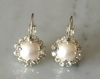 Swarovski Crystal Pearl Earrings, Swarovski Pearl Earrings, Bridal Earrings, Pearl Bridal Earrings, June Birthstone Earrings