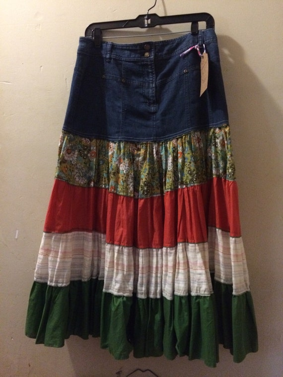 up cycled denim topped peasant skirt boho hippie