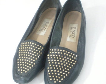 60% OFF Feb 9 - 11 1980s shoes, Black Flats, Studded Flats, Black Gold, Enzo Angiolini, Designer Flats, Flat Shoes, Womens Flats, Slip on, S
