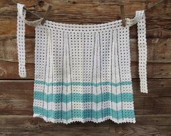 Crochet Apron - Hostess Apron - Turquoise and White Apron - Vintage Apron