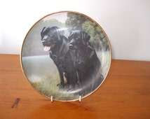 """Franklin Mint """"Sporting Companions"""" Black Labradors Limited Edition plate by Nigel Hemming"""