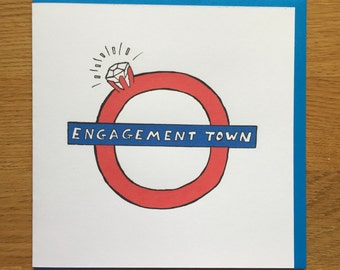 engagement card,  London tube, British, ring