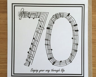 70th birthday card, seventieth birthday, music