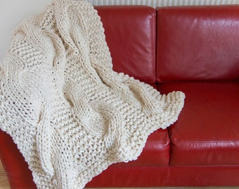 Chunky Knit Blanket, *Free Shipping World Wide*, Huge Cable, Black Throw, Chunky Afghan, Cream, Lap Warmer, Huge, Large Knitted Blanket,