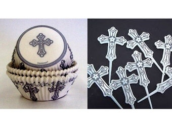 Cross Cupcake Picks with 12 Silver Cross Baking Cups