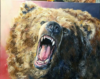 Bear Roar , Grizzly Oil painting  ORIGINAL art ,  oil on canvas  50 x 40 cm (20 x 16 inches ) hang , stretched , wild animal , danger