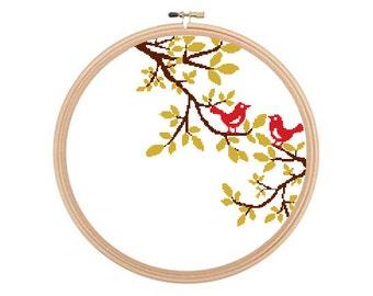 Love Birds - Cross stitch pattern, Bird Cross Stitch, Love Birds, Bird Pattern, Modern Cross Stitch, Love Cross Stitch, Valentine's Day