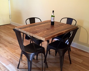 Reclaimed Wood Kitchen Dining Table from Thick Beams, with Steel Hairpin Legs