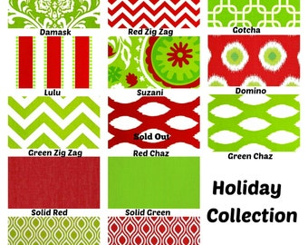 Red Green Christmas Pillow Covers, Decorative Throw Pillows, Cushions, Holiday Pillows, Red Green White Stripe Lulu, One or More All Sizes