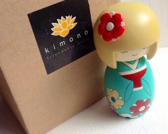 Kimono Doll Kimono Friendship Wooden Doll Friendship Doll Kimono Wishes Japanese Doll Painted Doll Flower Girl Blonde Doll Floral Kimono