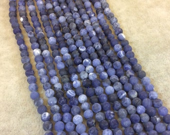 """4mm Matte Natural Blue/White Sodalite Round/Ball Shaped Beads - Sold by 15.5"""" Strands (Approximately 97 Beads) - Semi-Precious Gemstone"""