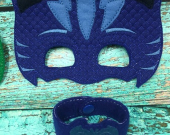PJ Blue Cat Boy Mask & Wristband Cuff Set Kids Dress Up, Costume, Pretend Play