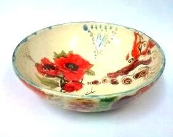 Red Anemone bowl,  poppy flowe bowl, Vintage serving bowl