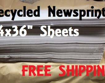 """Recycled Newsprint Packing Paper Sheets - 24x36"""" - Wrapping - Bulk - Free Shipping"""