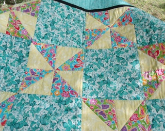 """Handmade Quilt Butterfly Theme Lovely Approx Size:  40"""" x 50"""""""