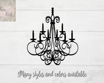 Chandelier Wall Decor, Shabby Chic Decal, French Country Decal,  Chandelier Decal, Chandelier Wall Decal, Chandelier Window Decal