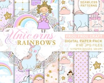 Unicorn Paper Pack, Princess Seamless Patterns, Pastel Nursery Baby Scrapbook, Rainbow Background, Blue Pink Blush Mint, Cute Girly