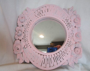 painted mirror, pink mirror, shabby chic mirror, rose mirror, painted wood mirror, hanging wall mirror, distressed mirror