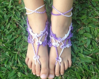 Childs Purple Crochet Barefoot Sandals, Kids Footless Crochet Sandals, Toddler Beach Shoes, Kids Shoes, Boho Kids Sandals - READY TO SHIP!