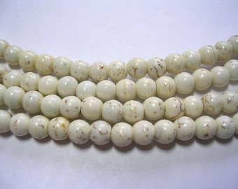 6mm Mottled Sand Howlite Rounds 65 Beads Gemstone Fossil Bead Jewelry 6mm Stone Rounds.  Light Brown Marbled Stone Veined Howlite