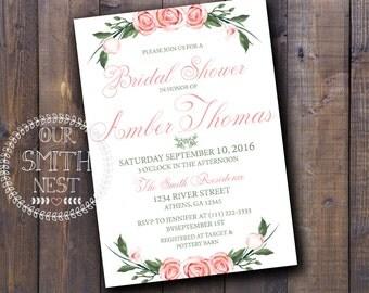 Rose Bridal Shower Invitation DIY PRINTABLE Customizable Digital Prints