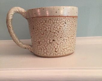 18 oz white mug. Large coffee cup or tea cup. Handmade pottery mug. Ceramic stoneware cup. Fired in a gas kiln. Wheel thrown. Food safe mug