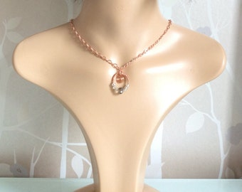 Rose gold plated wire wrapped choker