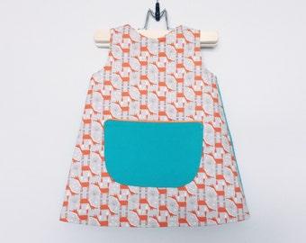 girls dress girls summer dress girls a line dress toddler dress shift dress towno 1960s dress sleeveless dress fox dress orange blue dress