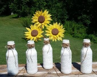 Country wedding decorations, vase, upcycled bottle, wedding centerpieces