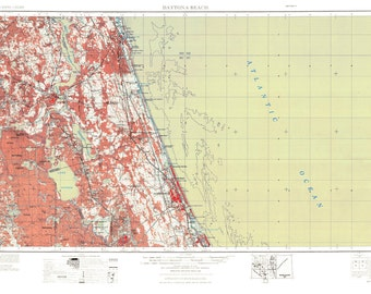 Daytona Beach Art, Daytona Beach Map, Daytona Beach Print, Vintage Map, Beach House Decor