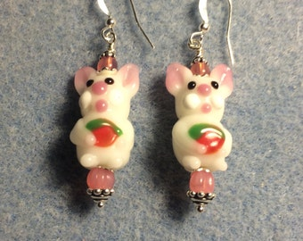 White and pink lampwork bunny rabbit earrings adorned with pink Czech glass beads.