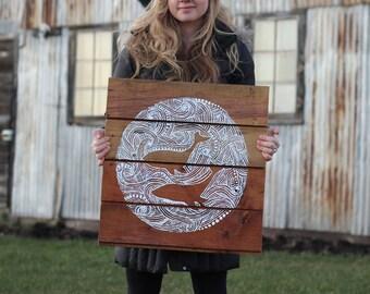 whales, original reclaimed wood art