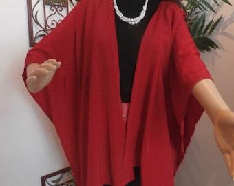 Red silky ruana wrap---REL011415