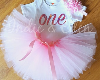 1st Birthday tutu baby girls first headband babysuit birthday pink glitter personalised one set photo prop cake smash