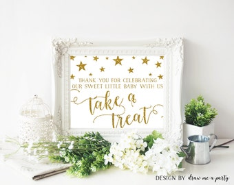 TWINKLE TWINKLE LITTLE Star Dessert Table Sign , Baby Shower Favor Table Sign , Please Take A Treat Sign , Printable , Instant Download