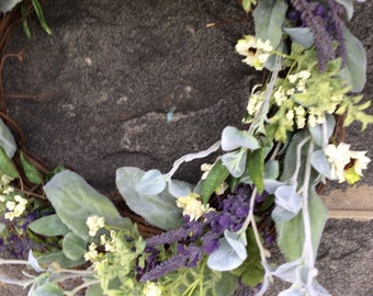 Spring wreath/Farmhouse wreath/Herb wreath/Year round wreath