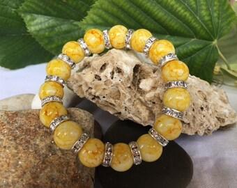 Beaded Bracelet, Yellow Beaded Bracelet