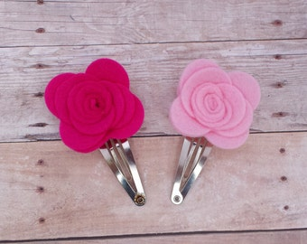 CHOOSE ANY TWO / 40+ Colors - Wool Felt Rose Flower Hair Snap Clip / Wool Felt Rose Clip / Felt Flower Clip Set / Felt Snap Hair Clip