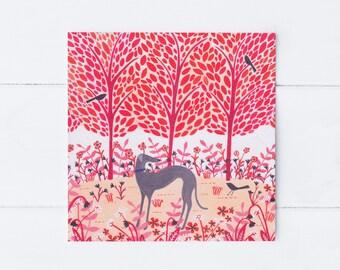 Autumn Greyhound Greeting Card | Art Card | Woodland Illustration | Notecard | Dog Card | Dog Lover Gift