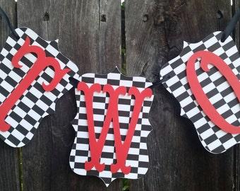 Checkard black and white banner, Race car banner