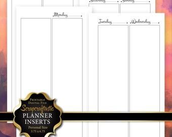 All Columns WO4P Personal Size Planner Printable Undated Insert Refill - Filofax Kikki K ColorCrush Erin Condren width columns