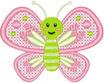 Butterfly Embroidery Design, Garden Insect Machine Embroidery Design No: JG00032-1